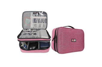 (Single, Large, Denim Pink) - BUBM Travel Cable Bag, Ultra-compact Electronics Gadget Organiser Case for Data Cables, Chargers, Plugs, Memory Cards, CF Cards and More-a Sleeve Pouch Fits for iPad(Large, Denim Pink)