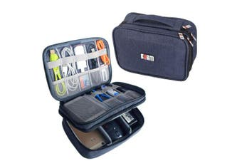 (Single, Medium, Dark Blue) - BUBM Travel Cable Bag, Ultra-compact Electronics Gadget Organiser Case for Data Cables, Chargers, Plugs, Memory Cards, CF Cards and More-a Sleeve Pouch Fits for iPad Mini (Medium, Dark Blue)
