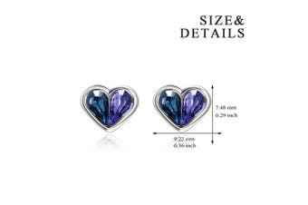 925 Sterling Silver Love Heart Stud Earrings with Blue Purple Crystals from , Jewellery Gifts for Women Girls