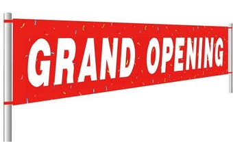 (#4) - Colormoon Large Grand Opening Banner, Retail Store Shop Business Sign, Business Office Store Front Banner, Store, Advertising, Flag (3m x 0.5m)