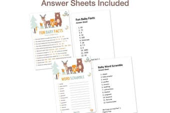 Baby Shower Games for Boys or Girls - Set of 5 Activities - (50 Cards Each, 250 Total) - Baby Shower Supplies - Woodland Animals