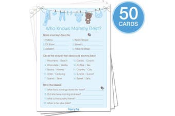 Baby Shower Games for Boys - Set of 5 Activities - (50 Cards Each, 250 Total) - Baby Shower Supplies