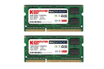 (Macmemory 8GB 2X 4GB 1066MHz) - Komputerbay MACMEMORY 8GB (2x 4GB) DDR3 PC3-8500 1066MHz SODIMM 204-Pin Laptop Memory for Apple Mac