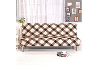 (Style B) - Solid Colour Armless Sofa Bed Cover Polyester Spandex Stretch Futon Slipcover Protector 3 Seater Elastic Full Folding Couch Sofa Shield fits Folding Sofa Bed without Armrests 200cm x 130cm in (Style B)