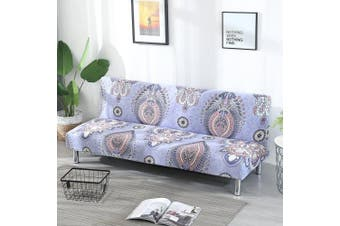 (Style E) - Armless Sofa Bed Cover Vintage Floral Printing Couch Sofa Slipcover Polyester Stretch Futon Cover 3 Seater Couch Sofa Shield Protector fits Folding Sofa Bed without Armrests 200cm x 130cm in (Style E)