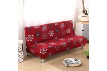 (Style K) - Armless Sofa Bed Cover Vintage Floral Printing Couch Sofa Slipcover Polyester Stretch Futon Cover 3 Seater Couch Sofa Shield Protector fits Folding Sofa Bed without Armrests 200cm x 130cm in (Style K)