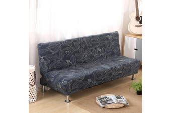 (Style H) - Armless Sofa Bed Cover Vintage Floral Printing Couch Sofa Slipcover Polyester Stretch Futon Cover 3 Seater Couch Sofa Shield Protector fits Folding Sofa Bed without Armrests 200cm x 130cm in (Style H)