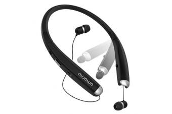 (Black) - Bluetooth Headphones, AMORNO Foldable Wireless Neckband Headset with Retractable Earbuds, Sports Sweatproof Noise Cancelling Stereo Earphones with Mic