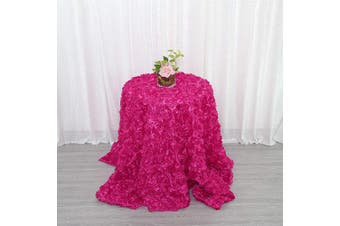 (300cm  Round, Rosette Rose Red) - B-COOL Rosette Tablecloth 120 Round Tablecloth 3D Floral Table Linen Rosette Fabric Rose Red Table Cover
