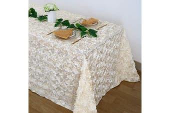 (230cm  x 340cm , Rosette Ivory) - B-COOL 3D Rosette Square Tablecloth Overlay 230cm x 340cm Ivory Tablecloth Cover for Wedding Party Bridal Shower Event Banquet
