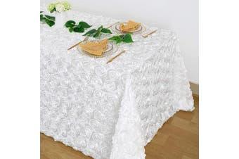 (230cm  x 340cm , Rosette White) - B-COOL Rosette 3D Satin Tablecloth White Wholesale Modest Table Cover for Wedding Party Birthday Event 230cm x 340cm