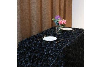 (230cm  x 340cm , Rosette Black) - B-COOL 3D Rosette Tablecloth Wholesale Rectangle Table Cover Satin for Wedding Party Banquet Event 230cm x 340cm Black