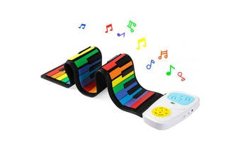 (49 Keys Colorful) - Lujex Rainbow Roll Up Piano,Portable Foldable Standard 49 Keys Flexible Soft Silicone Electronic Music Roll Up Piano Keyboard with Louder Speaker for Children Beginner