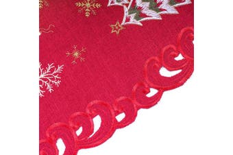 (4PCS Placemat 33cm  x 48cm , Christmas) - Bone & Tissue Christmas Embroidered Placemats, Set of 4 Snowflake, Christmas Moose Table Place Mats for Kitchen Dining Decor, 33cm x 48cm
