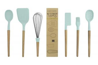 (Mint) - Country Kitchen 6 pc Non Stick Silicone Utensil Baking Set with Rounded Wooden Handles for Cooking and Baking - Mint Green