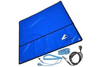 (Blau 60 x 60 cm) - Minadax® ESD Protection SET | Blue Antistatic Mat - Wrist Cuff - Earth Cable | Incl. Accessoires