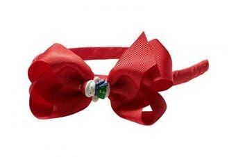 """(Snowman Red) - Anna Belen Girls """"Lila"""" Grosgrain Bow Headband O/S Snowman Red"""