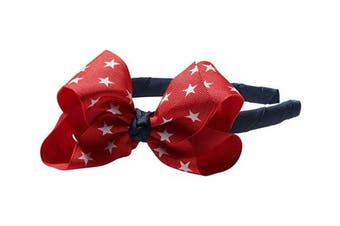 "(Red Stars) - Anna Belen Girls""Lila"" Grosgrain Bow Headband O/S Red Stars"