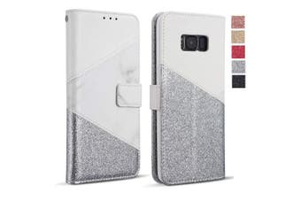 (Samsung Galaxy S6 Edge, White) - ZCDAYE Wallet Case for Galaxy S6 Edge,Premium Bling Glitter [Magnetic Closure] PU Leather [Ceramic Pattern] Stand Soft TPU with [Card Slots] Flip Cover for Samsung Galaxy S6 Edge - White