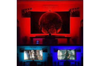 (Cover four sides of 140cm  - 150cm  TV) - Bias Lighting for 150cm TV Backlights - USB Powered Behind TV Back Lights 16 Colour Wireless RF Remote Dimmable LED Behind TV Ambient Lighting, 4m S Shape LED Strip Light