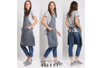(Gray) - BIGHAS Adjustable Bib Apron with Pocket Extra Long Ties for Women Men, 13 Colours, Chef, Kitchen, Home, Restaurant, Cafe, Cooking, Baking, Gardening (Grey)