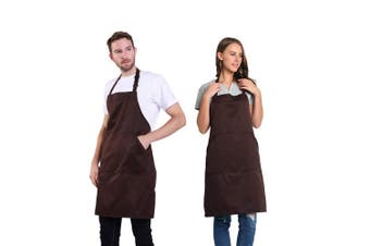 (Brown) - BIGHAS Adjustable Bib Apron with Pocket Extra Long Ties for Women Men, 13 Colours, Chef, Kitchen, Home, Restaurant, Cafe, Cooking, Baking, Gardening (Brown)