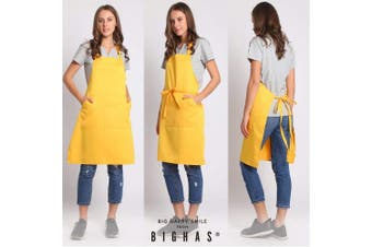(Yellow) - BIGHAS Adjustable Bib Apron with Pocket Extra Long Ties for Women Men, 13 Colours, Chef, Kitchen, Home, Restaurant, Cafe, Cooking, Baking, Gardening (Yellow)