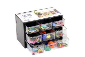 Mini Organiser with Drawers for Desk, ReachTop Acrylic Desk Storage for DIY Crafts, Office Supplies and Jewellery, Great for Desk, Vanity, Tabletop in Home or Office, Black