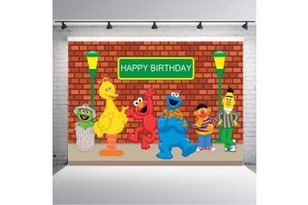 (Sesame Street1) - TJ Sesame Street Brick Wall Photography Backdrops Boy Girl Birthday Party Theme Photo Booth Background Baby Shower Banner Decoration Supplies 2.1m x 1.5m Vinyl