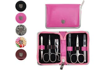 (Pink) - 3 Swords Germany - brand quality 6 piece manicure pedicure grooming kit set for professional finger & toe nail care scissors clipper fashion leather case in gift box, Made in Solingen Germany (01580)