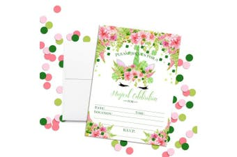 St. Patrick's Day Clover Watercolour Floral Unicorn Face with Pink Dahlias Birthday Party Invitations, 20 13cm x 18cm Fill in Cards with Twenty White Envelopes by AmandaCreation