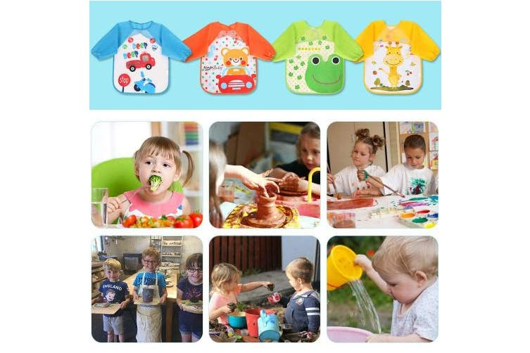 (4 pcs) - Vicloon Bibs with Sleeves,4 Pcs Waterproof Long Sleeve Bib Unisex Feeding Bibs Apron Front Pocket for Infant Toddler 6 Months to 3 Years Old