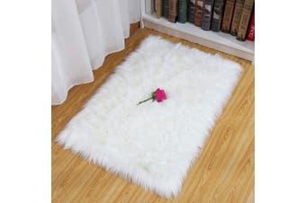 (White, 75X120CM) - HEQUN Faux Fur Rug Soft Fluffy Rug, Shaggy Rugs Faux Sheepskin Rugs Floor Carpet for Bedrooms Living Room Kids Rooms Decor (White, 75X120CM)