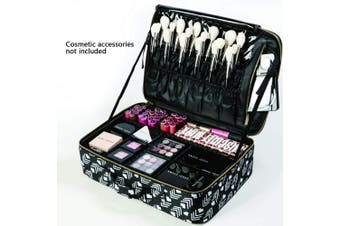 (large, pattern) - ROWNYEON Makeup Travel Cosmetic Bag Professional Large Makeup Organiser For Women In Polyester
