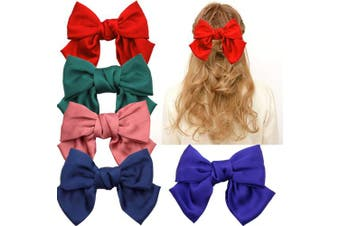 (Hair Barrettes-2) - Large Big Huge 20cm Soft Silky Chiffon Hair Bow Clip Lolita Party Oversize Handmade Girl French Barrette Style Hair Clips Headbands (Hair Barrettes-2)