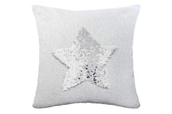 (Sliver-white) - Basumee Mermaid Sequin Pillow with Insert, 40x40cm Magic Reversible Sequins Cushion for Home Décor (White/Silver)