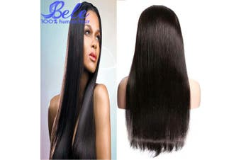 (60cm , 360 Straight Hair Wig) - Bele 10A Silky Straight Hair 360 Lace Frontal Wigs 150% Density Pre-Plucked Peruvian Human Virgin Hair With Nature Hairline For Black Women 60cm