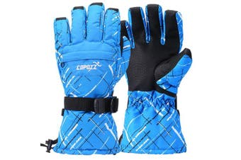 (XL for Men(Hands 20cm  max palm to middle finger), Blue) - COPOZZ Waterproof Ski Gloves, Windproof Thermal Warm Winter Insulated Motorcycle Snowmobile Snowboarding Skiing Gloves with Zipper Pocket for Men Women & Kids