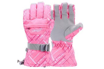 (L for Women(Hands 18cm  max palm to middle finger), Pink) - COPOZZ Waterproof Ski Gloves, Windproof Thermal Warm Winter Insulated Motorcycle Snowmobile Snowboarding Skiing Gloves with Zipper Pocket for Men Women & Kids