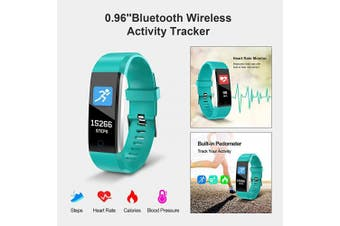 "(Green) - GPCT 0.96"" Bluetooth Wireless Activity Tracker with Heart Rate Sensor (Green)"