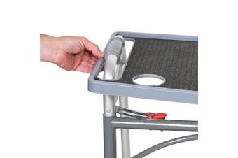 (Gray) - Support Plus Walker Tray Table with Non-Slip Mat/Cup Holders - Mobility Accessory Fits Most Standard Walkers (50cm x 41cm ) - Grey