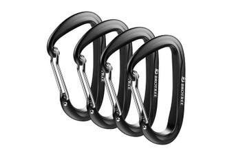 (4 A-WireGate Black) - Brotree Carabiner D-Ring Wire Gate/Locking Carabiner Clip Hook for Hammock, Camping, Hiking, Fishing, and More