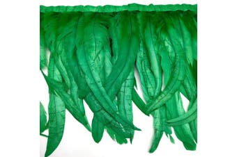 (Green) - Natural Rooster Tail Feathers Fringe Trim (Green)