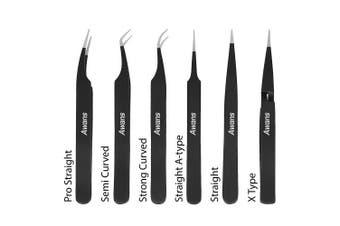 (Black) - Awans Tweezers Set, Eyelash Extension Tweezers Kit for Craft, Jewellery, Electronics, Laboratory Work, 6 Pieces Set Eyelash Extension Tools Kit, Tweezers Kit with pouch bag (Black)