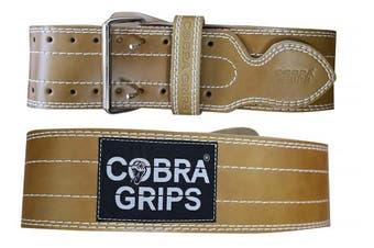 (Brown, Medium 80cm  - 100cm ) - Weight Power Lifting Belt 10cm Wide Cobra Grips Premium Genuine Leather Belt For Men & Women Adjustable Weightlifting Back Support