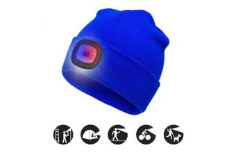 (Blue, 1PCS) - ATNKE Bright LED Lighted Beanie Cap Unisex Rechargeable Headlamp Hat Red and Blue Glow Flashing Alarm Headlamp Multi-Colour