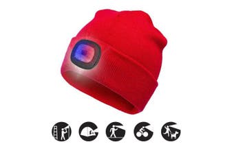 (Red, 1PCS) - ATNKE Bright LED Lighted Beanie Cap Unisex Rechargeable Headlamp Hat Red and Blue Glow Flashing Alarm Headlamp Multi-Colour