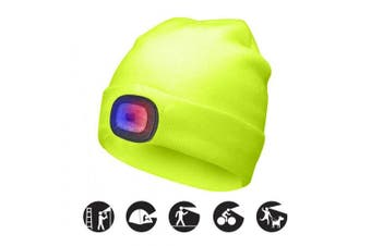 (Fluorescent yellow, 1PCS) - ATNKE Bright LED Lighted Beanie Cap Unisex Rechargeable Headlamp Hat Red and Blue Glow Flashing Alarm Headlamp Multi-Colour
