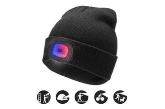 (Black, 1PCS) - ATNKE Bright LED Lighted Beanie Cap Unisex Rechargeable Headlamp Hat Red and Blue Glow Flashing Alarm Headlamp Multi-Colour