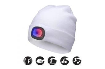 (White, 1PCS) - ATNKE Bright LED Lighted Beanie Cap Unisex Rechargeable Headlamp Hat Red and Blue Glow Flashing Alarm Headlamp Multi-Colour